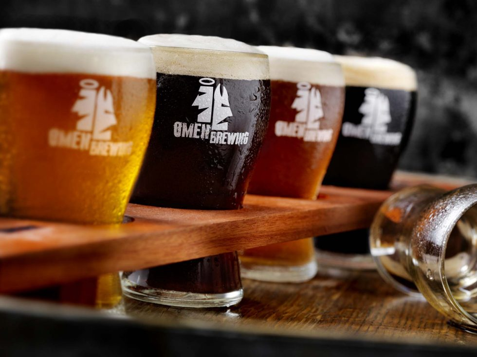 Beverage Photographer. A flight of beer by Omen Brewing.