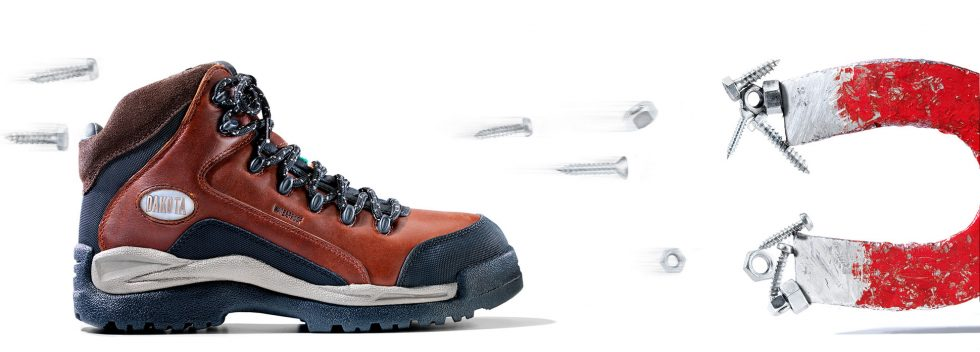 Calgary Commercial Photography. Steel toed demagnetized work boot.