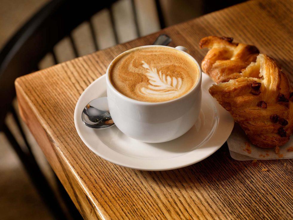 Calgary Food & Beverage Photographer. A latte and danish.
