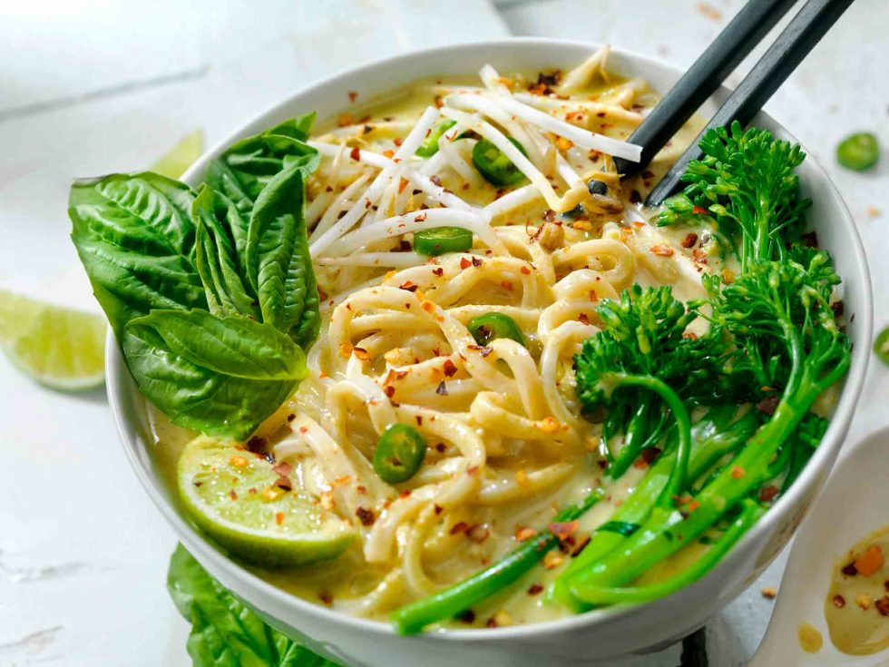 Calgary Food Photography. Asian noodle bowl with basil, lime, jalapeno, and broccolini.