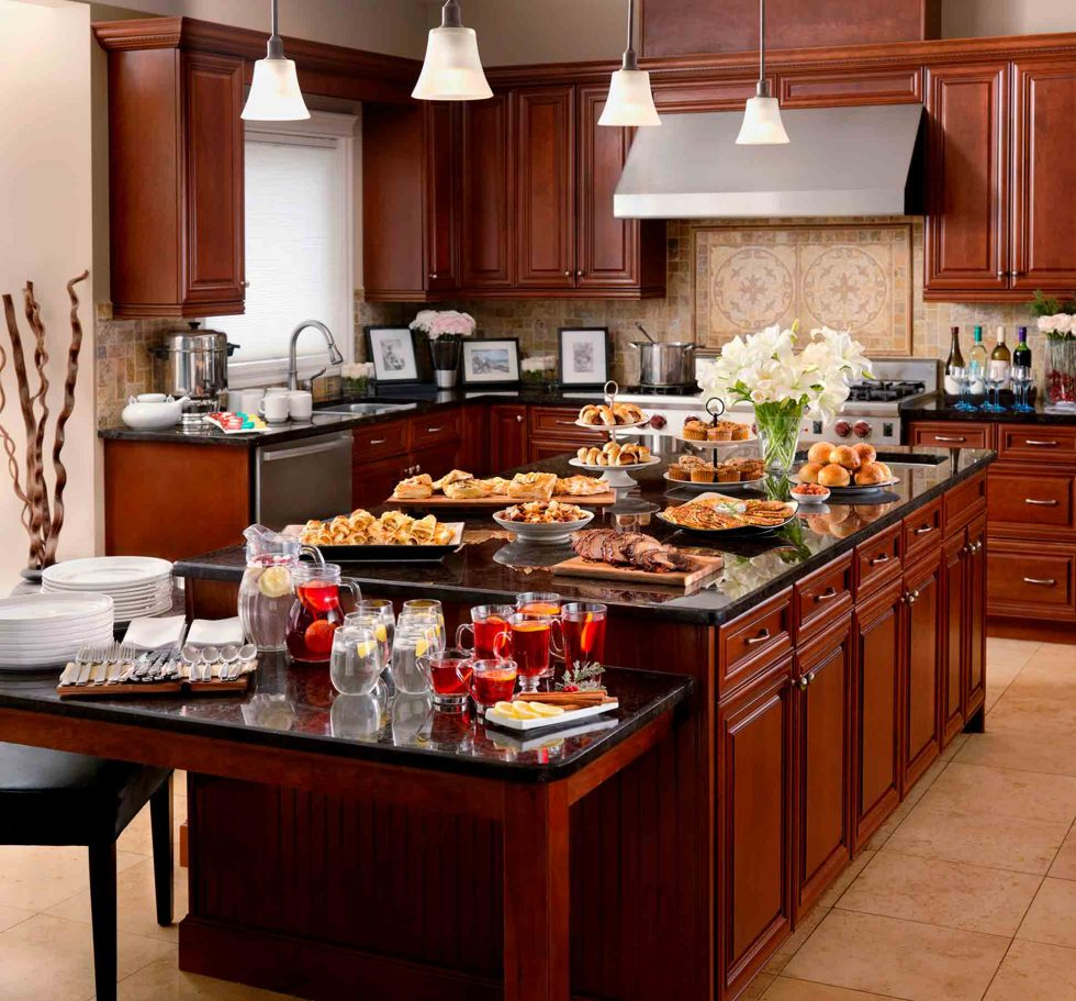 Calgary Food Photography. Assortment of part foods and beverage in elegant kitchen.