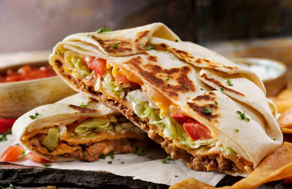 Calgary Food Photography. Closeup shot of perfectly cooked beef quesadilla.