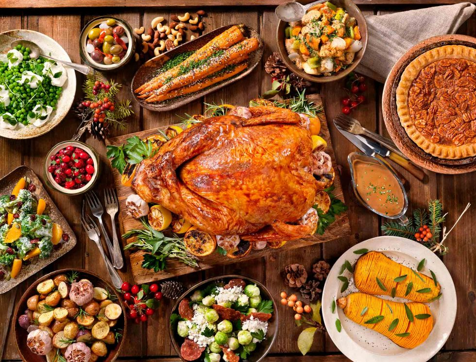 Calgary food photography. Thanksgiving feast on rustic backdrop.