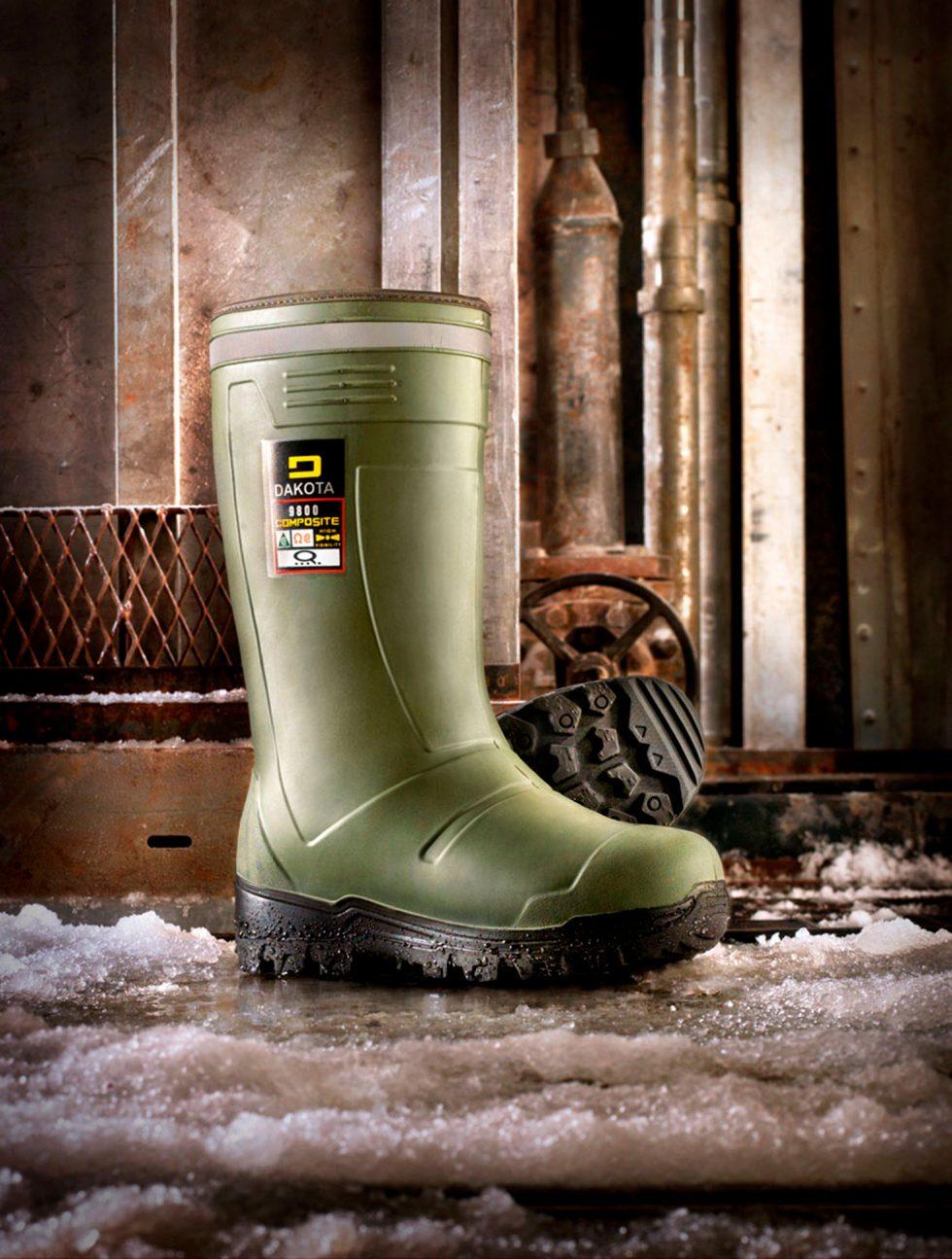 Calgary product Photographer. Dakota rubber boot in factory setting.