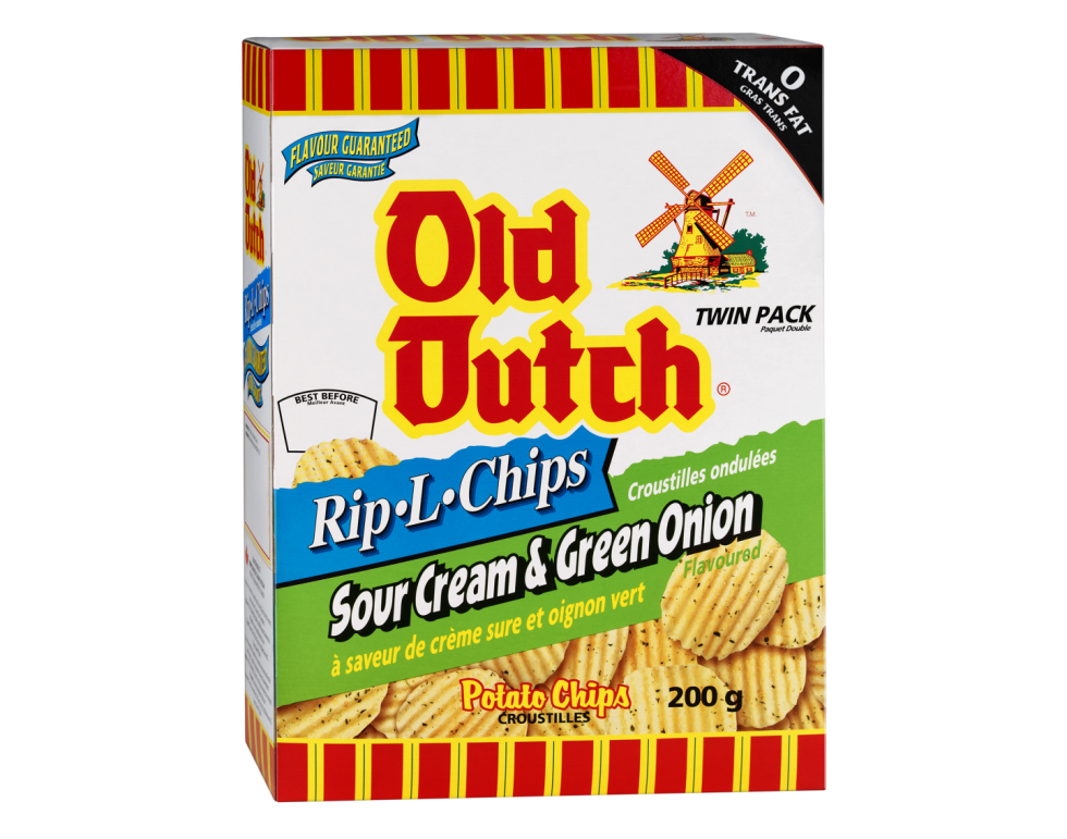 Calgary Product Photography. A box of Old Dutch Sour Cream & Onion Rip-L-Chips