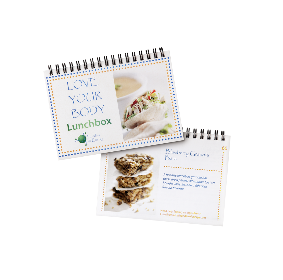 Calgary Product Photography. Love Your Body Lunchbox Cookbook by Bundles of Energy.