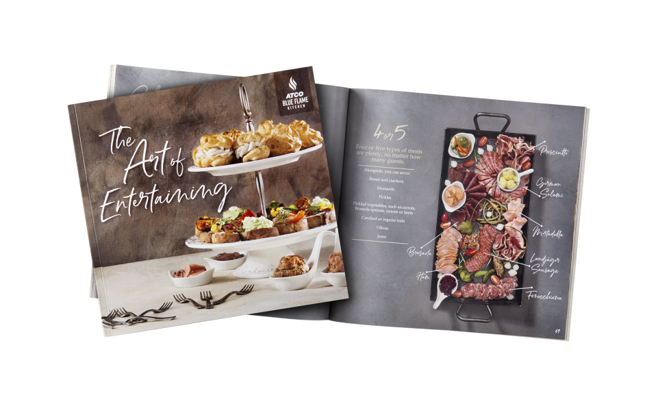 Calgary Product Photography. The Art of Entertaining Cookbook by Atco Blue Flame Kitchen.