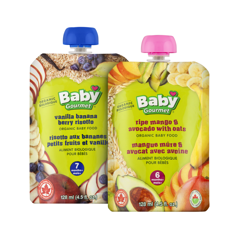 Organic Baby Food Pouches by Baby Gourmet. Calgary Product Photography.